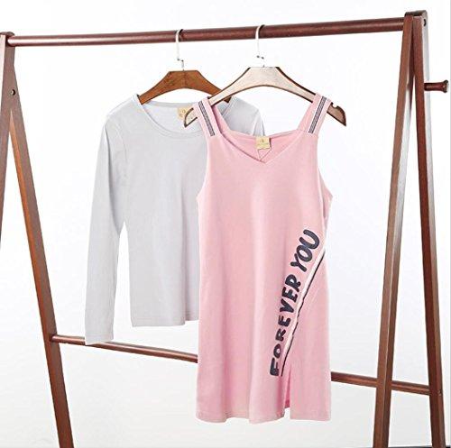 JINSHENG Sommer Baumwolle Sling Nachthemd weiblich Herbst Rock Baumwolle langärmeligen Schlafanzug zweiteiligen Anzug weiblich 170 / XL P97309265 rosa