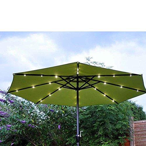 Garden Mile Grand BASCULANT jardin parasol parapluie soleil shade.available en noir, crème ou vert bois ou aluminium cadre Manivelle poignée Lumières Led - 2.7m Parasol Vert Acier Lumières Led Poignée