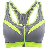 Shuzhen,Mujeres Corriendo Gimnasio Fitness Cómodo A Prueba de choques Cremallera Frente Yoga Sujetador Top Push Up Camisa(Color:Amarillo + Gris,Size:Metro)