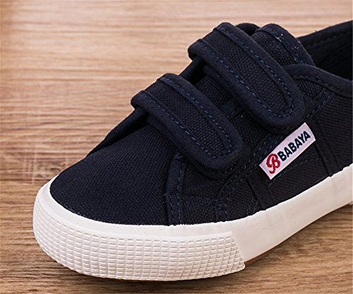 Wealsex Basket Basse Toile Sneakers Scratch Mixte Enfant Garçon Fille Bleu
