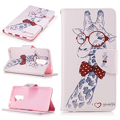 Price comparison product image Ecoway Painting pattern PU Leather Stand Function Protective Cases Covers with Card Slot Holder Wallet Book Design Case for Huawei Honor 6X - Red glasses giraffe