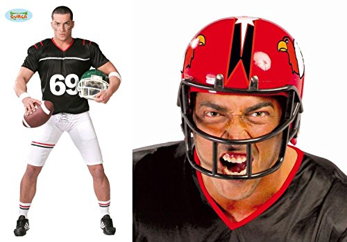 2 Teile KOMBI SET - FOOTBALL SPIELER - ( Kostüm, Größe 52-54 (L) + Helm, rot), Nationalsport Sportart Player Spieler Sportler Quarterback NFL USA Trikot Cheerleader (Spieler Kostüme Football Cheerleader Und)