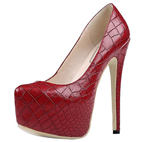EKS Damen Sexy Stilett Absatz Plattform Pumpen Schuhe Rot