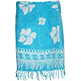 Mogul Interior Women's Cotton Mini Wrap Around Beach Skirt One Size Blue