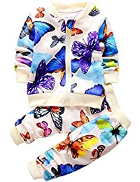 SMARTLADY Niños sudaderas Mariposa impresión Cárdigan Cardigan Tops + Pantalones