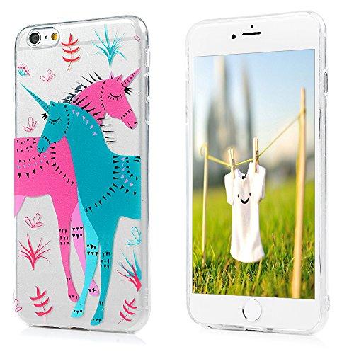 Badalink Coque pour iPhone 6 Plus / iPhone 6S Plus, Etui en TPU Silicone Souple Relief Coque de Protection Ultra Mince Scratch Cas de Téléphone Peint Coloré Couverture Arrière - Rose Cheval