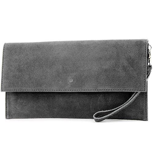 modamoda de - ital Tasche Clutch Klein aus Wildleder T151, Präzise Farbe:Dunkelgrau