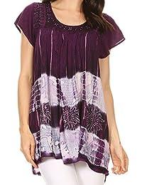 Sakkas Layleka long Tie Dye Ombre Batik brodée Sequin perlé Shirt Blouse Top