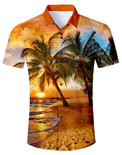Print Hawaiian Shirt und Shorts Sets Lässige Kurzarm-T-Shirts mit Strandhosen-Outfits Urlaub Kleidung XL ()