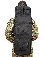 Airsson táctico rifle pistola caso cubierta suave doble Rifle bolsa mochila de almacenamiento con Correa para el hombro con Bolsa de revista nailon resistente al agua (Negro, 100 cm / 40 pulgadas)