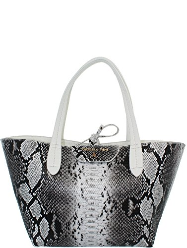 Petit sac cabas réversible PATRIZIA PEPE imprimé python noir & blanc