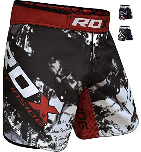 RDX MMA Shorts Boxen UFC Kampfsport Trainingshorts Freefight Kurze Sporthose Fightshorts Kickboxen, Schwarz, Gr. M