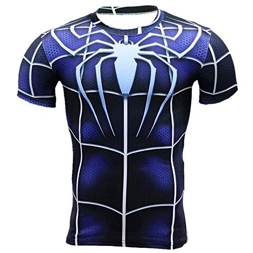 HOOLAZA Spiderman Blau Blue Männer Kurzarm Kompression Herren T Shirt Fitness Sport Gym Compression Avengers Short Shirt Herren Gym Beim Training T-Shirt XL