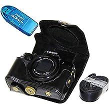 First2savvv XJPT-G5X-01G10 Funda Cámara cuero de la PU cámara digital bolsa caso cubierta con correa para Canon PowerShot G5X negro + lector de tarjetas SD