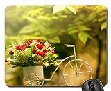 Fahrrad mit Blumen Mauspad, Mousepad (Blumen Mauspad)