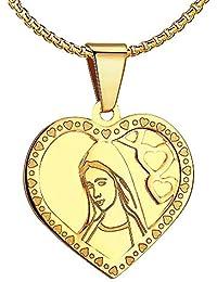 BOBIJOO Jewelry - Pendentif Médaille Vierge Marie Coeur Amour Acier Plaqué  Or Communion + Chaîne 1e5e1c7f926