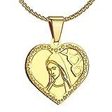 Bobijoo JewelryCadena y medalla de la Virgen María, corazón dorado de oro fino, colgante, medalla de comunión