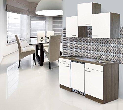 Respekta Installation de Cuisine Single Bloc 150 cm Imitation chêne York Blanc céramique