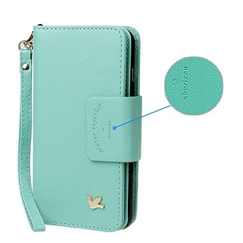 Hülle für Samsung S5, xhorizon FX Prämie Leder Folio Case [Brieftasche][Magnetisch abnehmbar] Uhrarmband Geldbeutel Flip Vogel Tasche Hülle für Samsung Galaxy S5 i9600 mit einer Auto Einfassungs Halte Minze mit Kugel Auto Einfassung Halter