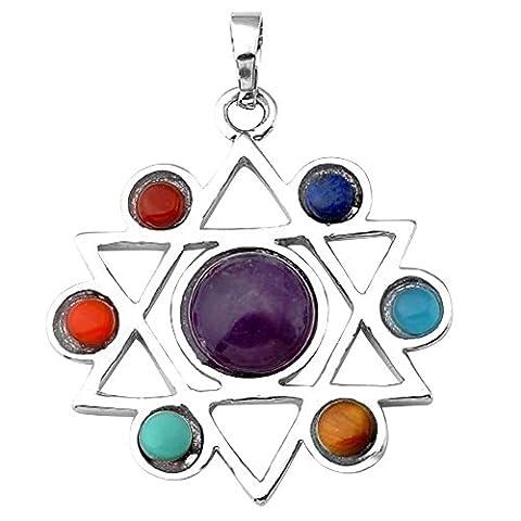 Contever 7 Chakra Stone Pendant Reiki Healing Balancing Alloy insert Natural Crystal Gemstone Beads -- Hexagram