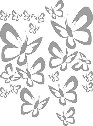 INDIGOS UG - Wandtattoo Wandsticker Wandaufkleber Aufkleber W521 SET Butterfly Wandaufkleber Aufkleber 20 Stück, mittelgrau - Küche Dekoration Kinderzimmer (Kinder-möbel-schlafzimmer-set)