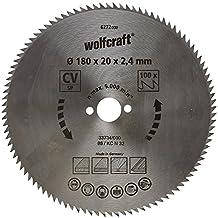 Wolfcraft 6272000 - Disco de sierra circular CV, 100 dient., serie azul Ø 180 x 20 x 2,4 mm