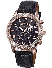Kinlene Moda reloj de mujer ginebra diamante relojes de pulsera de cuarzo de cuero analogico casual lujo (Black)