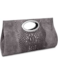 2018 Foldover Full Croc Print Leather Clutch Free UK Delivery Made in Italy