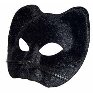 P'TIT CLOWN 10420 Loup Tissu Suédé - Chat Noir avec Moustache