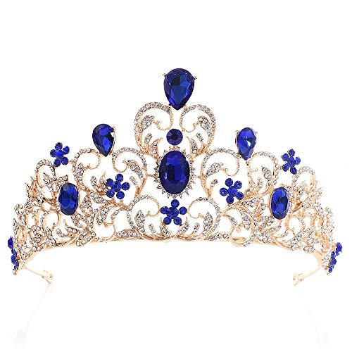 Hochzeit Prom Brautkrone Vintage Royal King Crown Diadem Braut Hochzeit Blatt Zweige Strass Diademe Stirnband Brautprinzessin Abschlussball Kristall Tiara (Farbe : Blau)