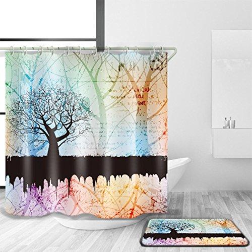 HJMTRY Bad Zubehör Duschvorhang und Badematte Anzug 3D Digitaldruck Minimalist Stil Polyester Mildewproof Wasserdicht Anti-Bakterien Bad Dekor Multi Größen , @1 , 180 x 240 cm