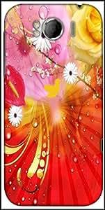 Snoogg Fantasy Flowers Background Designer Protective Back Case Cover For HTC Sensation Xl