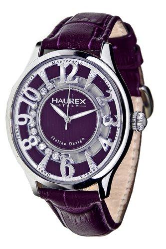 Haurex Italy - FA336DP1 - Montre Femme - Quartz - Analogique - Bracelet cuir violet