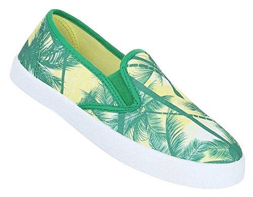 Damen Schuhe Slipper Halbschuhe Trend Sommerschuhe Flache Schlupfschuhe Grün Gelb