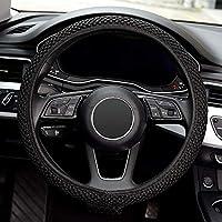 Prime Day Universal 15 inch Steering Wheel Cover Elastic Ice Silk, Breathable, Anti-Slip, Odorless Cool in Summer (Black) (Black)