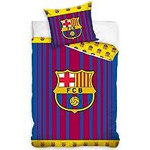 Edredón del F.C. Barcelona para cama de 90 cm. FCB Juego de Funda de  edredón con diseño de Rayas del ... 48a44639d57
