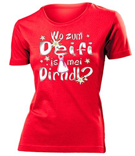 Wo zum deifi is MEI Dirndl 1280 Oktoberfest Outfit Artikel Fasching Kostüm T Shirt verkleidung Wiesn Frauen Damen Mädchen Geschenk Rot L