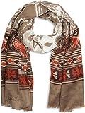 styleBREAKER breiter XXL Schal mit Azteken Ethno Boho Muster und Fransen, Strickschal, Unisex 01017026, Farbe:Braun-Beige-Rot-Weiß