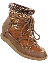 Damen Stiefeletten Schuhe Keil Wedges Boots Used Optik Grau 36