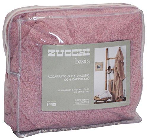 Accappatoio zucchi basics journey uomo donna con cappuccio taglia s - m - l - xl microspugna spugna di puro cotone 260gr/m² (rosa antico, s - 42/44)