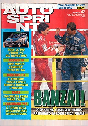Autosprint Auto Sprint 42 del Ottobre 1991 Senna Mansell Piquet, Rohrl
