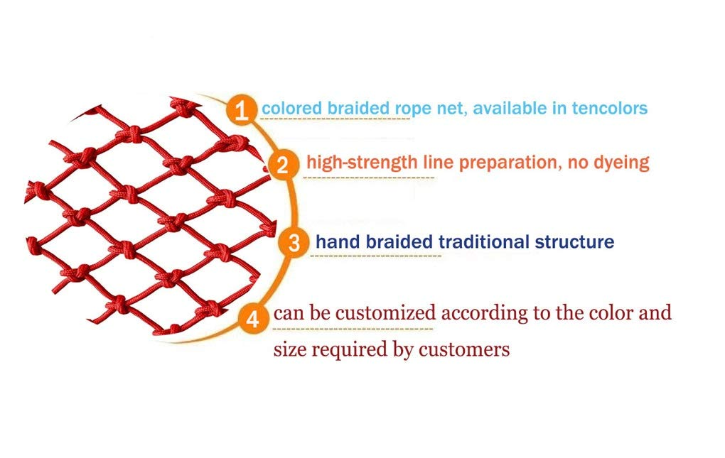 Child Safety Net, Baby Balcony Stair Cat Pet Protective Net, Bird Net, Garden Plant Protection Net, Outdoor Fall Protection Safety Net, Size 10mm * 6cm (Size : 4 * 9M)  ♦Child Safety Net. Handmade: High quality safety net protection net, the rope itself is flawless, re-twisted, and the rope is wound vertically and horizontally.This makes it straighter and far superior to the folding method (you can judge by hanging the bend). ♦Garden Protection Net. Polypropylene coating - Our utility ropes are made of a durable polypropylene jacket that can be hung if necessary.Nylon core and polypropylene cover have amazing resistance to deterioration, mildew, moisture, grease and rot. ♦Baby Balcony Protective Net. 100% risk-free use: We have no reason to ask for the quality of our products, which is why we believe you will like it!We believe in the quality of our products, so you can rest assured that you can get the best products on the market. 2