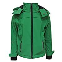 Outburst - Boys softshell jacket lined raincoat windproof and water-repellent tractor motif, green