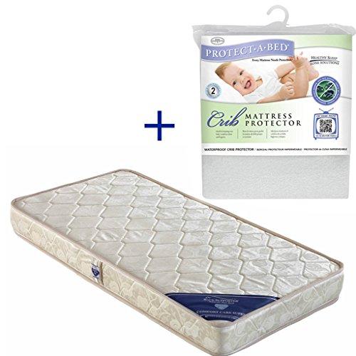 Spring Air Comfort Care Super Foam Baby Mattress + Crib Protector Combo (White)