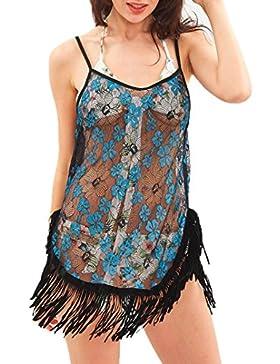 Vovotrade Mujer Visible transparente Borla playa Baño de sol Suelto Puesta de sol Vestir Bikini Vestido