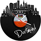 Skyline Dortmund Reloaded 2018 Wanduhr aus Vinyl Schallplattenuhr Upcycling Design Uhr Wand-Deko Vintage-Uhr Wand-Dekoration Retro-Uhr Made in Germany