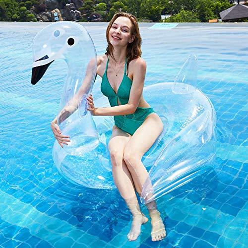 ZEDMA Aufblasbar Schwimmendes Schwimmring Schwimmreifen Pool Spielzeug Schwan Luftmatratze mit Pailletten Sommerliches Wasserspielzeug Aufblasbar für Erwachsene Kinder