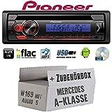 Mercedes A-Klasse W169 Audio 5 - Autoradio Radio Pioneer DEH-S110UBB - CD | MP3 | USB | Android Einbauzubehör - Einbauset