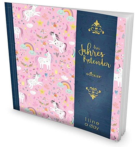 GOCKLER® 3 Jahres Kalender: 190+ Seiten Journal für 3 Jahre    Glänzendes Softcover    Ideal als Tagebuch, Terminplaner, Notizkalender oder Tagesplaner    DesignArt.: Einhorn Mädchen (3-jahres-planer-kalender)