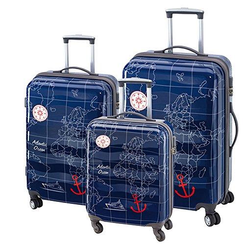 3-teiliges Trolley-Kofferset Reisekoffer Hartschale MADEIRA Blau